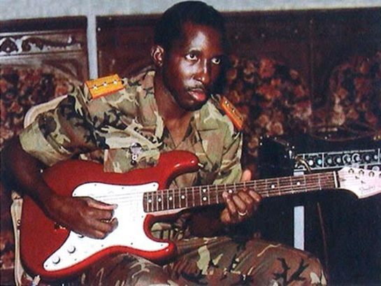 Rhythmic Revolution: Captain Sankara on his guitar, one of the few things he owned